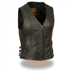 Womens Leather Motorcycle Vests V-Neck Zipper