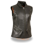 Ladies Leather Motorcycle Vests: Longer Length