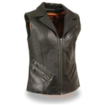 Womens Leather Motorcycle Vests: Longer Length