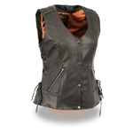Womens Leather Motorcycle Vests - Lace To Lace