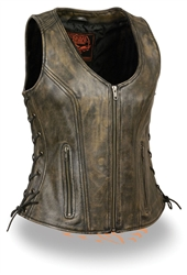 Brown Women's Leather Motorcycle Vest
