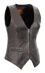 Ladies Fitted Leather Biker Vest