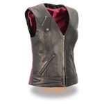 Womens Leather Motorcycle Vests: Milwaukee Pink Crinkle Design