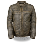 Distressed Brown Leather Motorcycle Jacket for Men