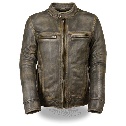 Distressed Brown Leather Motorcycle Jackets Free Shipping