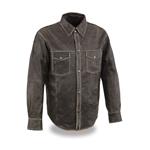 Distressed Lightweight Biker Leather Shirt