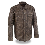 Distressed Brown Lightweight Leather Shirt