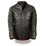 Lightweight Biker Leather Shirt Jacket