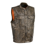 Distressed Brown Leather Motorcycle Vest - Zipper SOA Style