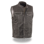 Distressed Gray Leather Motorcycle Vest - Zipper