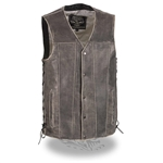 Straight Bottom Gray Leather Motorcycle Vests