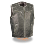 Vintage Gray Leather Motorcycle Club Vests