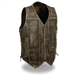 Milwaukee Distressed Brown Leather Motorcycle Vest