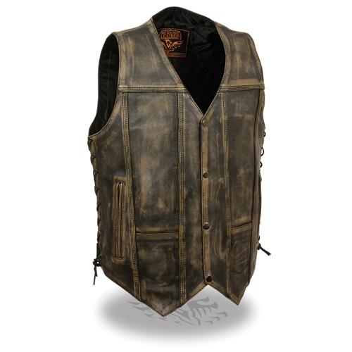 Vest Leather Distressed Brown Men's Motorcycle kXiPZu