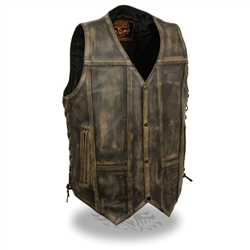 Men's Distressed Brown Leather Motorcycle Vest