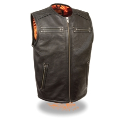 Zip Front, Longer Length Leather Motorcycle Vests