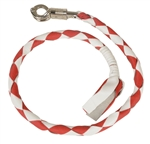 Get Back Motorcycle Whips - Red & White Leather