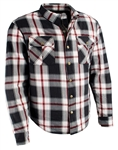Flannel Motorcycle Body Armor Shirt: Red Black Plaid