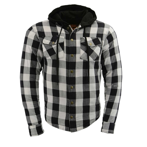 Flannel Motorcycle Jacket >> Milwaukee Flannel Motorcycle Body Armor Shirt Black White