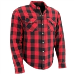 Flannel Riding Body Armor Shirt: Red Buffalo Plaid