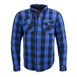 Flannel Motorcycle Body Armor Shirt: Blue & Black