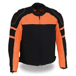 Armored Mens Mesh Racing Jacket: Orange & Black