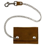 Distressed Brown Leather Biker Chain Wallets