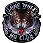 Lone Wolf No Club - Embroidered Biker Patch