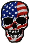 Biker Patches: USA Flag Skull Head