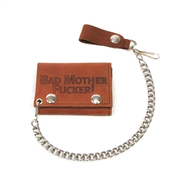 Brown Leather Chain Wallets With Bad Mother Fucker
