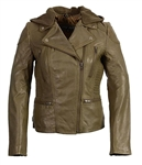 Womens Soft Lambskin Leather Motorcycle Jacket