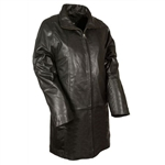 Womens Soft Leather Swing Coat