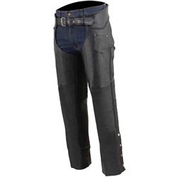 Premium Leather Motorcycle Chaps: Braided