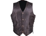 Retro Brown Leather Motorcycle Vest for Men