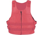 Men's Leather Motorcycle Vest: Red Bullet Proof