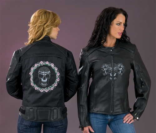 Women's Leather Motorcycle Jacket - Reflective Skulls - Leather ...