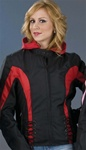 Women's Textile Motorcycle Jacket - Black & Red