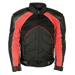 Leather Body Armor Motorcycle Jackets: Black and Red Mesh