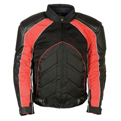 Leather Body Armor Motorcycle Jackets: Black & Red Mesh