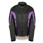 Women's Textile Motorcycle Jacket - Purple & Black