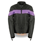 Women's Textile Motorcycle Jacket: Purple Stripe