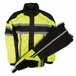 Reflective Neon Nylon Motorcycle Rain Gear Suit