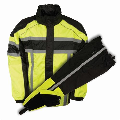 Reflective neon green motorcycle rain gear suit l jacket for Motor cycle rain gear