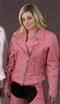 Women's Pink Leather Motorcycle Jacket: Braided