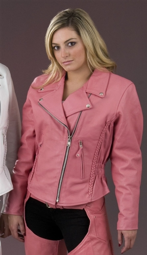 Women's Pink Leather Motorcycle Jacket - 25% OFF Sale