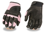Protective Women's Motorcycle Gloves - Pink & Black