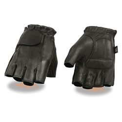 Men's Deerskin Leather Fingerless Motorcycle Gloves