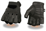 Leather Deerskin Fingerless Motorcycle Gloves