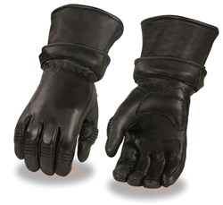 Deerskin Leather Motorcycle Gloves: Zip-Off Gauntlet
