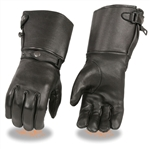 Deerskin Gauntlet Motorcycle Gloves: Insulated Warm